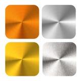 套在白色的明亮的光滑的圆的优美的古铜、金、银和铁金属板 库存例证
