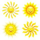 套在白色的风格化微笑的太阳 免版税库存图片