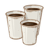 套在白色背景的三个纸咖啡杯 动画片咖啡杯 免版税库存照片