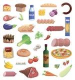 套在白色背景的各种各样的食品项目 皇族释放例证