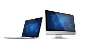 套在白色背景的现代数字式设备 免版税库存图片