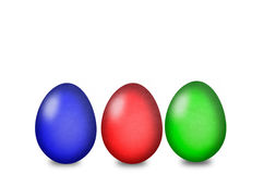 套在白色背景的色的复活节彩蛋 免版税库存图片