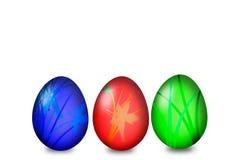 套在白色背景的色的复活节彩蛋 库存照片