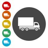套在白色背景的送货卡车颜色圆的被概述的平的象 库存例证