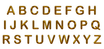 套在白色背景的金子字母表 皇族释放例证