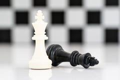 套在白色背景的黑白棋子 免版税库存照片