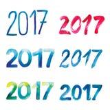 套在白色背景的水彩题字2017年 库存图片