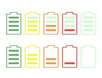 套在白色背景隔绝的电池充电电平指示器 纸板颜色图标图标设置了标签三向量 向量例证