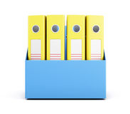 套在白色背景隔绝的箱子的黄色文件夹 3d 免版税库存图片