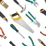 套在白色背景隔绝的建筑工具 锯,板钳,扳手,锤子,切削刀,钳子,螺丝刀 库存图片
