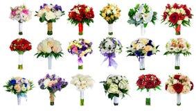 套在白色隔绝的婚礼花束,增殖比的18花束 免版税库存图片
