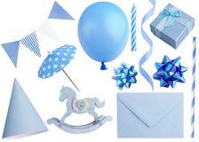 套在白色隔绝的生日聚会元素 免版税库存照片