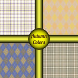 套在秋天调色板的四个无缝的样式苍白金黄,橙色,棕色,米黄&深蓝 免版税库存照片