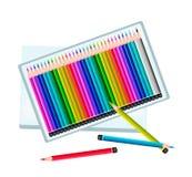 套在箱子的色的铅笔 向量例证