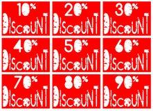 套在红色和白色的五颜六色的折扣lables 免版税库存照片