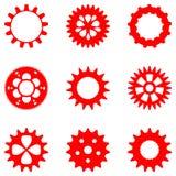 套在红颜色的不同的齿轮,被隔绝 库存图片