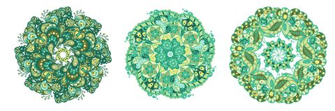 套在绿色和海洋颜色的3个圈子样式元素为 皇族释放例证