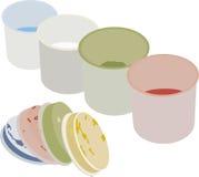 套在罐头的树胶水彩画颜料油漆 免版税库存图片