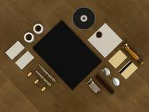 套在葡萄酒木头背景的单位元素 免版税图库摄影