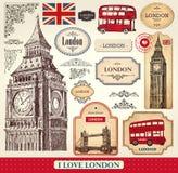 套伦敦标志 皇族释放例证