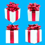 套在蓝色背景的礼物盒 图库摄影