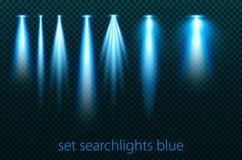 套在透明背景的霓虹探照灯 与聚光灯的明亮的照明设备 探照灯是蓝色的 向量Illustratio 库存例证
