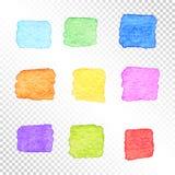 套在透明Backgroun的五颜六色的方形的水彩斑点 库存图片