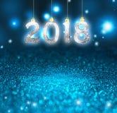 套在闪烁背景的银色发光的数字 新年2018年背景 圣诞节 免版税库存照片