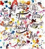 套在阿格拉,开罗,里约热内卢,比萨,马德里,纽约,莫斯科,巴黎,罗马,伦敦上写字 向量例证