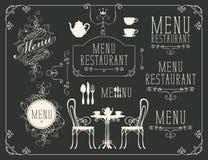 套在餐馆菜单题材的图画  库存例证