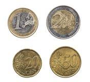 套在高分辨率的欧洲硬币 免版税库存图片
