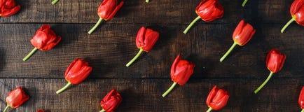 套在黑暗的木桌上的红色郁金香 库存照片