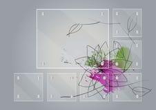 套在水彩设计花传染媒介例证顶部的玻璃框架 库存照片