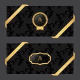 套在黑暗的背景的两副水平的横幅与在周围丝带和VIP和卵形商标 免版税库存图片