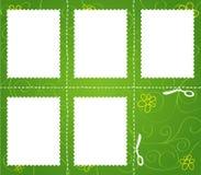 套在绿色背景的被削减的标记 库存照片