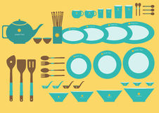 套在黄色背景的逗人喜爱的厨具,传染媒介 免版税库存图片