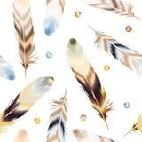 套在boho样式的颜色羽毛 免版税库存图片