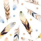 套在boho样式的颜色羽毛 图库摄影