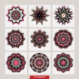 套坛场 装饰圆的装饰品 反重音疗法样式 织法设计元素 瑜伽商标 库存照片