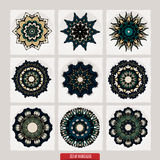 套坛场 装饰圆的装饰品 反重音疗法样式 织法设计元素 瑜伽商标 免版税库存照片