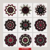 套坛场 装饰圆的装饰品 反重音疗法样式 织法设计元素 瑜伽商标 库存图片