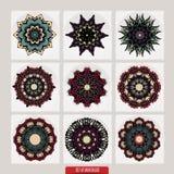 套坛场 装饰圆的装饰品 反重音疗法样式 织法设计元素 瑜伽商标 免版税库存图片