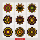 套坛场 装饰圆的装饰品 反重音疗法样式 织法设计元素 瑜伽商标 库存例证