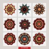 套坛场 装饰圆的装饰品 反重音疗法样式 织法设计元素 瑜伽商标 向量例证
