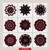 套坛场 装饰圆的装饰品 反重音疗法样式 织法设计元素 瑜伽商标 图库摄影