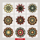 套坛场 装饰圆的装饰品 反重音疗法样式 织法设计元素 瑜伽商标 免版税图库摄影