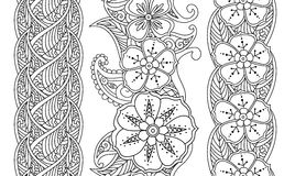 套垂直的无缝的在白色的样式花卉边界 库存图片