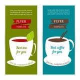 套垂直的横幅 与咖啡和茶概念的飞行物模板 图库摄影