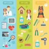 套垂直的横幅 关心宠物兽医 狩医诊所 修饰 平的设计 向量 免版税图库摄影