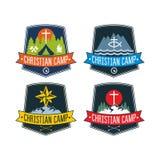 套基督徒阵营标签和商标图表 库存例证